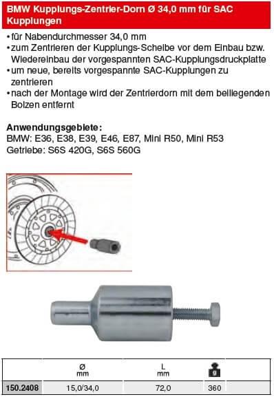 KS Tools BMW Kupplungs-Zentrier-Dorn Ø 34,0 mm für SAC - 150.2408