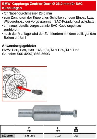KS Tools BMW Kupplungs-Zentrier-Dorn Ø 28,0 mm für SAC - 150.2404